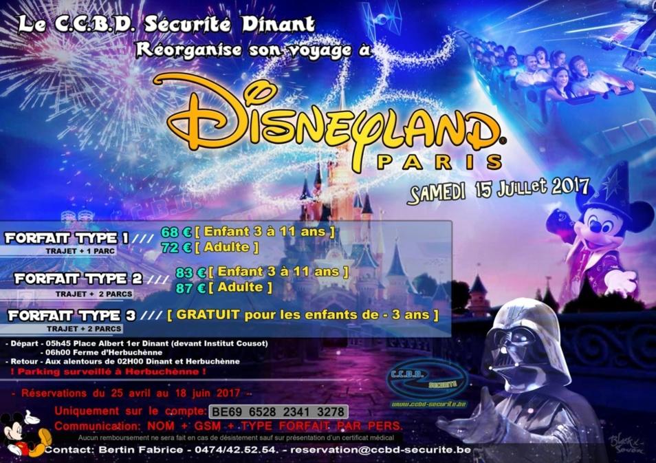Voyage C.C.B.D. Sécurité Dinant à Disneyland Paris le samedi 15 juillet 2017