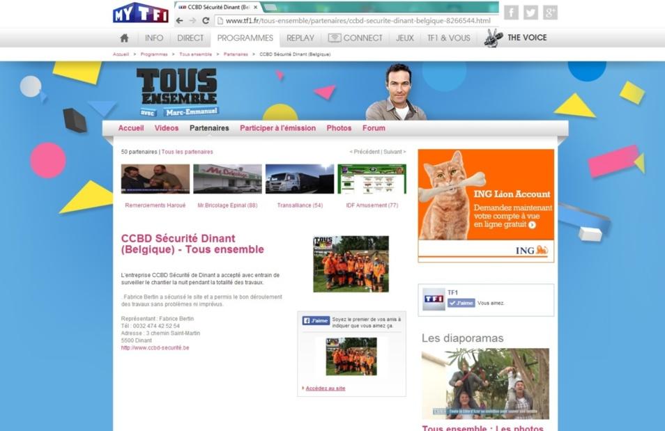 """Article publié sur le site de www.TF1.fr suite à la sécurité du Chantier """"Tous Ensemble à Emptinne"""""""