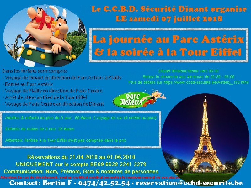 19 juillet 2014, le C.C.B.D. Sécurité Dinant chez les Gaulois & à la Tour Eiffel