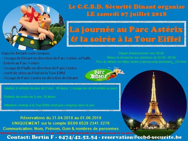 07 juillet 2018, le C.C.B.D. Sécurité Dinant chez les Gaulois & à la Tour Eiffel
